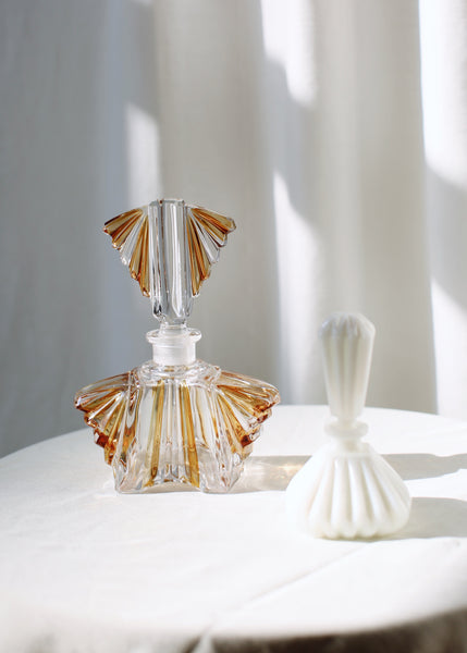 VINTAGE CLEAR & YELLOW GLASS PERFUME BOTTLE