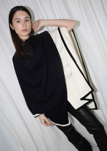 VINTAGE BLACK & WHITE COLOR BLOCK CAPE