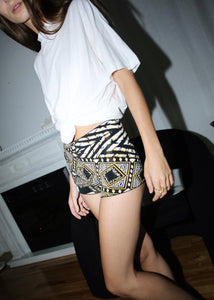 BCBG PRINTED MINI BANDAGE SHORTS (XXS)