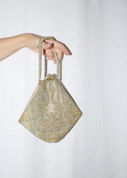 VINTAGE 30'S BEADED DELICATE GEOMETRIC PURSE