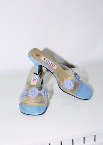 VINTAGE IRIDESCENT BLUE CLEAR DAISY SLIDES (7)