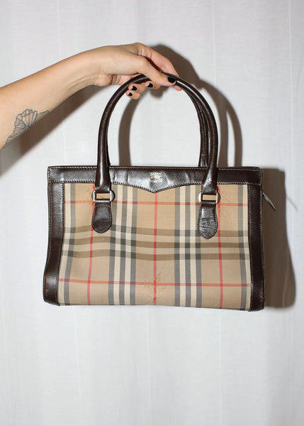 VINTAGE BURBERRY BROWN LEATHER & CANVAS NOVA CHECK BAG