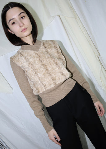 VINTAGE CAMEL WOOL & FAUX FUR CROPPED SWEATER (S)