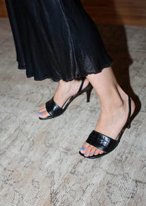 VINTAGE CHANEL BLACK QUILTED LEATHER SANDALS (37)