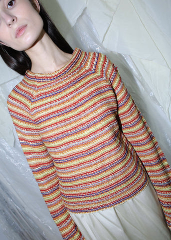 VINTAGE MULTI COLOR STRIPED SWEATER (S)