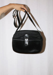 VINTAGE COURREGES BLACK LEATHER & FABRIC CROSSBODY BAG