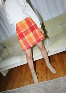 VINTAGE COURREGES RED & ORANGE 70'S PLAID MINI SKIRT (M)
