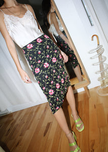 VINTAGE CYNTHIA ROWLEY FLOWER EMBROIDERED SKIRT (XS)