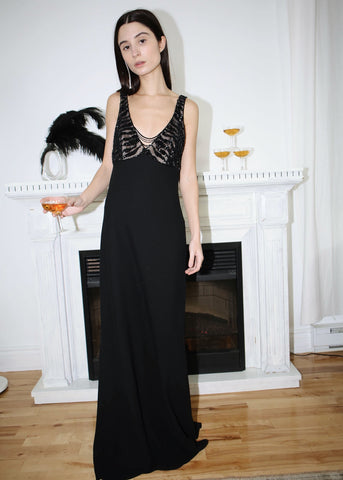 VINTAGE BLACK EMBELLISHED GOWN (S)
