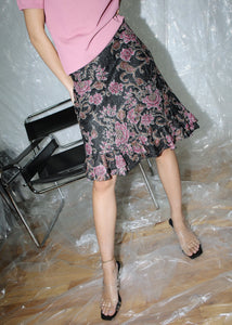 VINTAGE BLACK & PINK FLORAL RUFFLE LACE SKIRT (L)