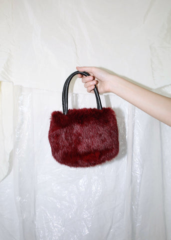 VINTAGE DARK RED RABBIT FUR HANDBAG