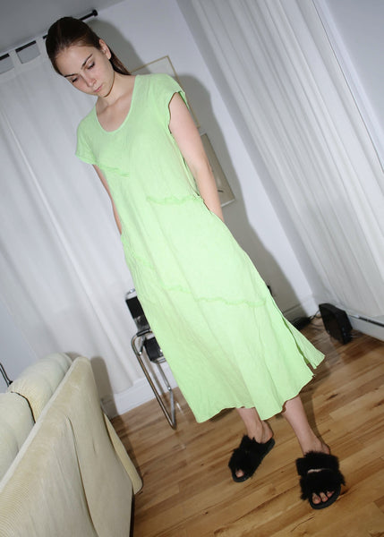 VINTAGE MINT GREEN DRESS WITH FRILLS (M)