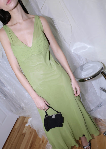 VINTAGE GREEN SILK COCKTAIL DRESS (M)