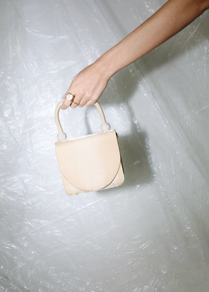 VINTAGE BEIGE/GOLD MINI SATIN HANDBAG