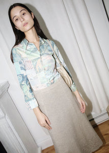 VINTAGE BLUE BIRD PRINT SHIRT (XXS)