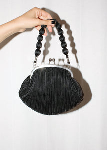 VINTAGE BLACK MICRO PLEATED SATIN BEAD HANDBAG