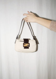 VINTAGE FENDI BEIGE CANVAS SMALL SHOULDER BAG