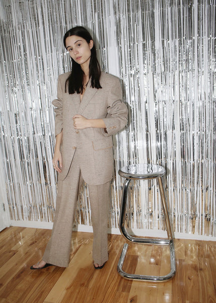 VINTAGE LIGHT BROWN WOOL OVERSIZED PANT SUIT (L)