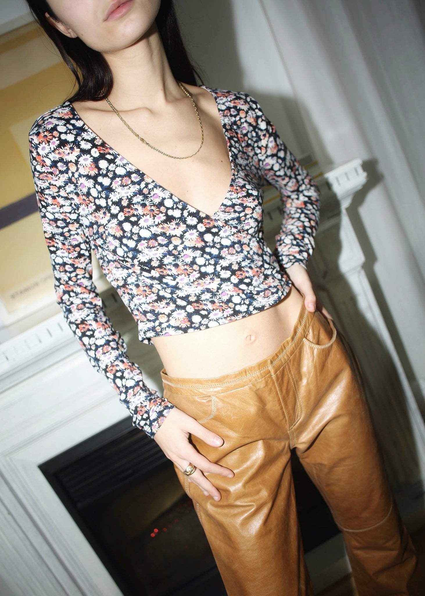 VINTAGE FLORAL CROPPED ENVELOPE CROP TOP (S)