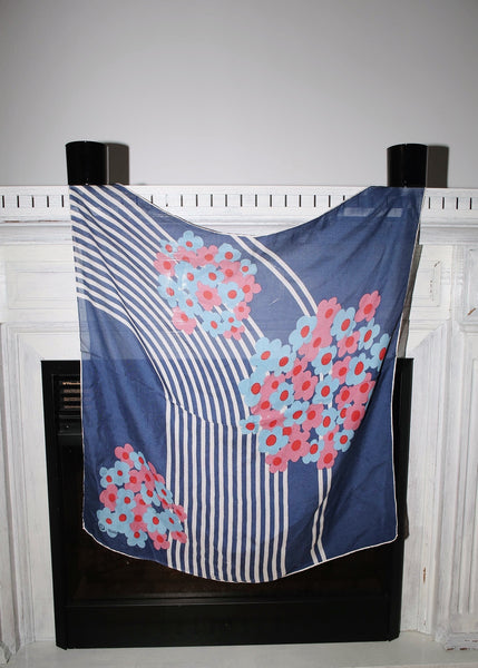 VINTAGE BLUE SCARF WITH PINK FLOWER PRINT