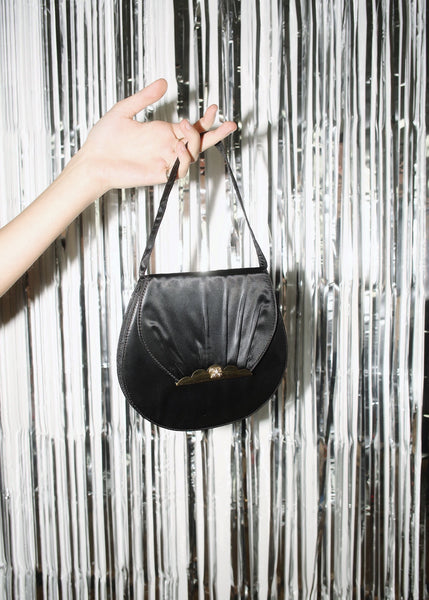 VINTAGE BLACK SATIN SCALLOP PURSE