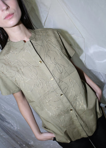 VINTAGE KHAKI SHIRT WITH GOLD EMBELLISHMENTS (M)