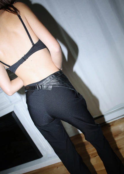 VINTAGE GIANFRANCO FERRE LEATHER & FABRIC PANTS (M)