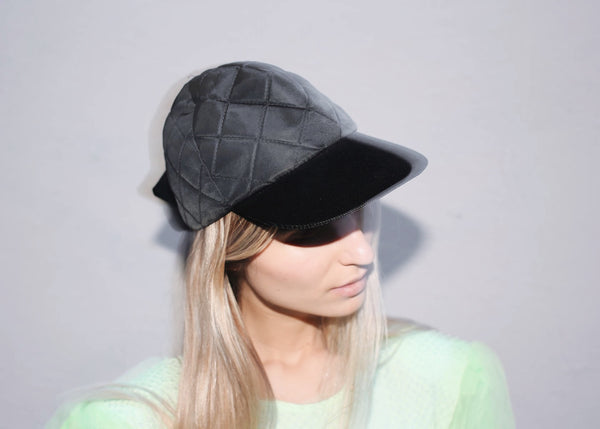 VINTAGE MAX MARA QUILTED CAP WITH BOW