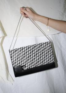 VINTAGE PIERRE CARDIN BLACK & WHITE PRINTED SHOULDER BAG