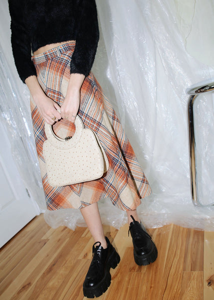 VINTAGE BEIGE PLAID BELL SKIRT (XS)