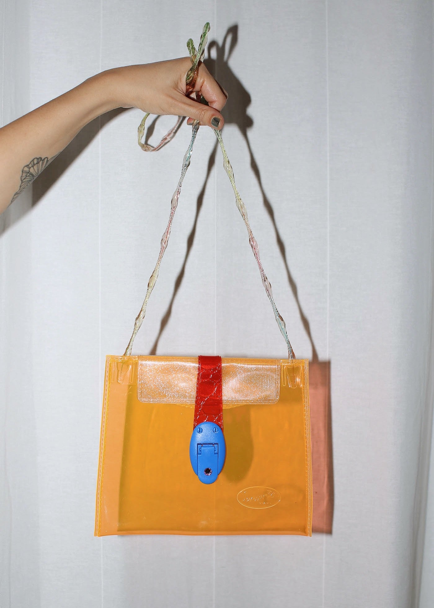 VINTAGE ORANGE CLEAR PLASTIC BAG
