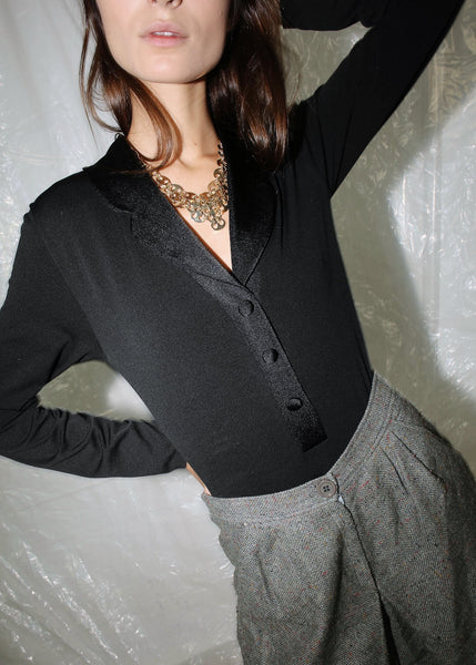 VINTAGE BLACK SATIN TRIM SHIRT COLLAR BODYSUIT (S)
