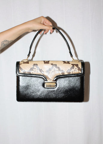 VINTAGE BLACK AND SNAKESKIN LEATHER HANDBAG