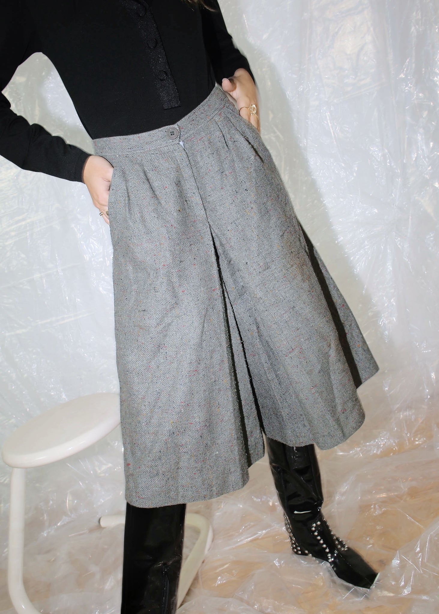 VINTAGE GRAY WOOL CULOTTES (XS)