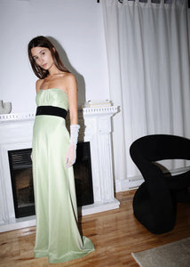 VINTAGE GREEN STRAPLESS BALL GOWN (S)