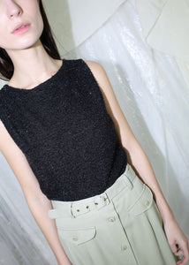 VINTAGE BLACK SPARKLY KNIT SWEATER VEST (S)