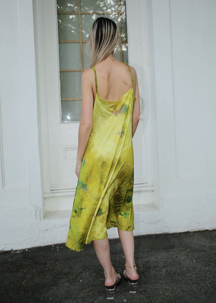 VINTAGE GREEN TIE DYE SLIP DRESS (S)