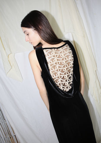 VINTAGE BLACK VELVET LONG DRESS WITH MESH BACK (S)