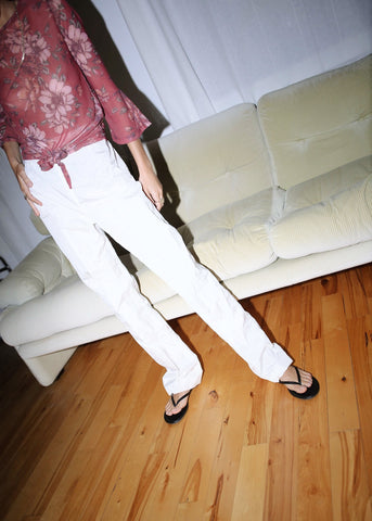 VINTAGE WHITE STRAIGHT LEG SILK PANTS (L)