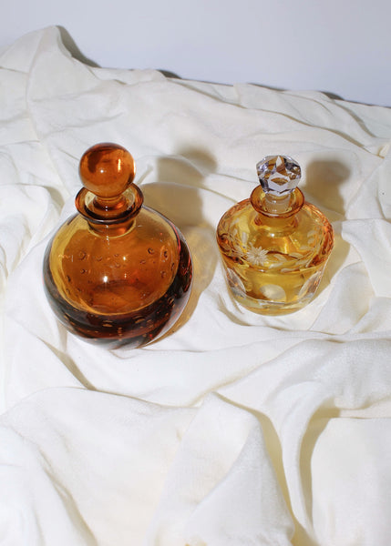 VINTAGE YELLOW & CLEAR GLASS PERFUME BOTTLE