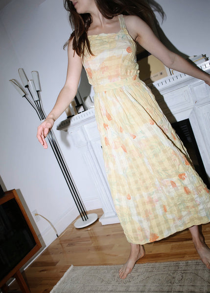 VINTAGE YELLOW FLORAL OPEN BACK MAXI SUMMER DRESS (S)