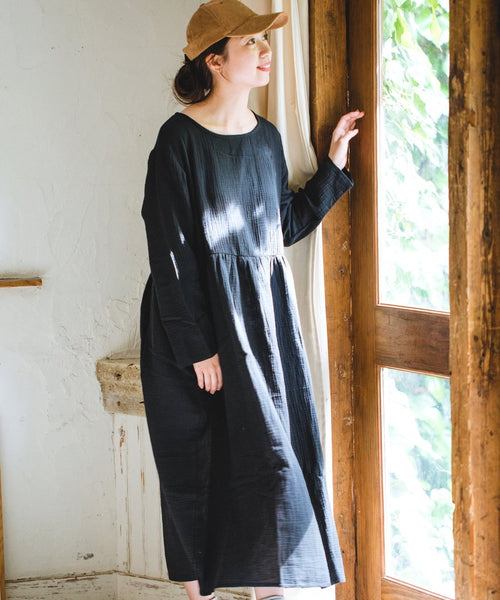 Double Gauze Muslin Long Sleeve Dress (Black)