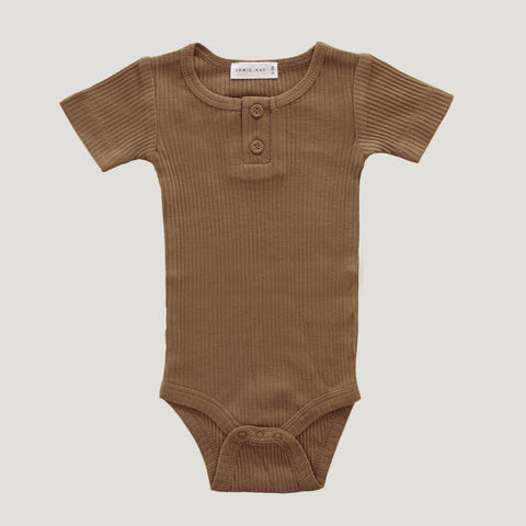 Cotton Modal Short Sleeve Bodysuit (Bronze)