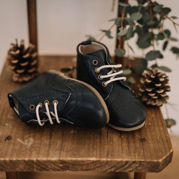 Mary Robyn Lace-Up Boots (Navy)