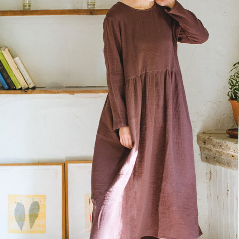 Double Gauze Muslin Long Sleeve Dress (Brown)