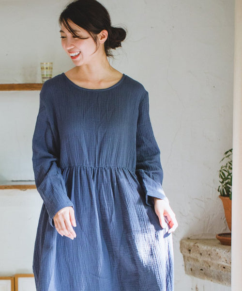 Double Gauze Muslin Long Sleeve Dress (Charcoal Blue)