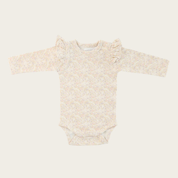 Long Sleeve Frill Bodysuit (Forget Me Not)