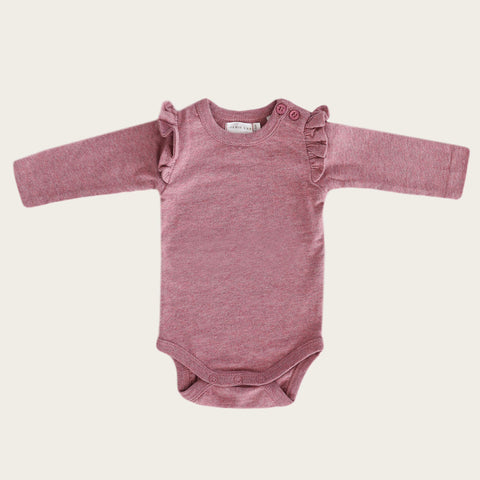 Long Sleeve Frill Bodysuit (Berry Fizz)