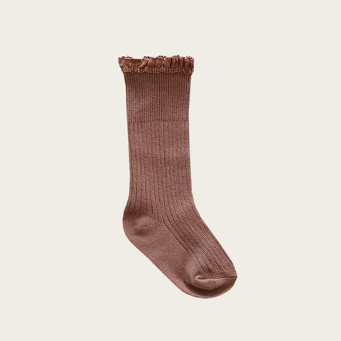 Knee High Frill Socks (Caramel)