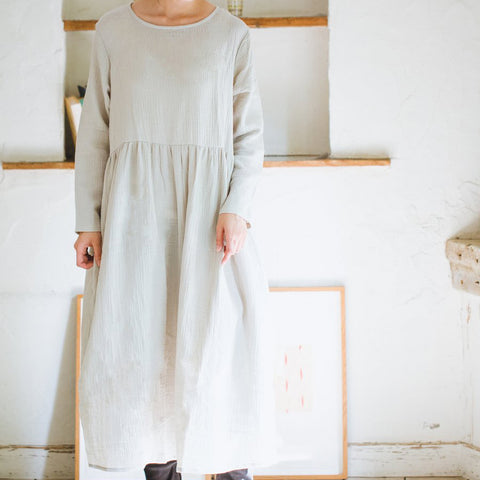 Double Gauze Muslin Long Sleeve Dress (Light Grey)